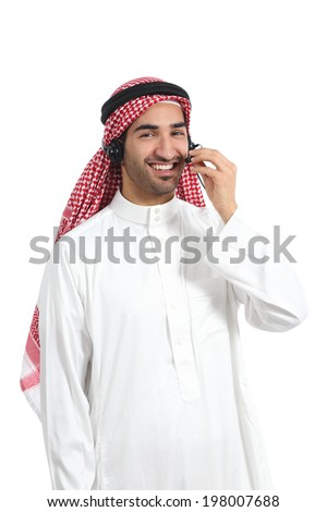 Arab saudi operator man working with free hands headset on the phone isolated on a white background                - stock photo