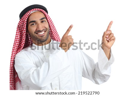 Arab saudi presenter man presenting pointing at side isolated on a white background                - stock photo
