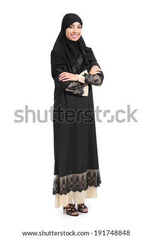 Arab saudi woman full body posing confident isolated on a white background             - stock photo