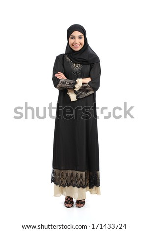 Arab saudi woman posing standing happy isolated on a white background                - stock photo