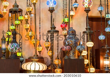 Arab street lanterns in Dubai, United Arab Emirates - stock photo