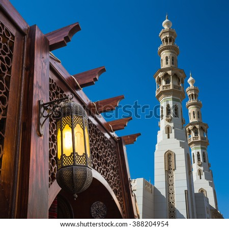 Arab street lanterns in the city of Dubai in the United Arab Emirates - stock photo