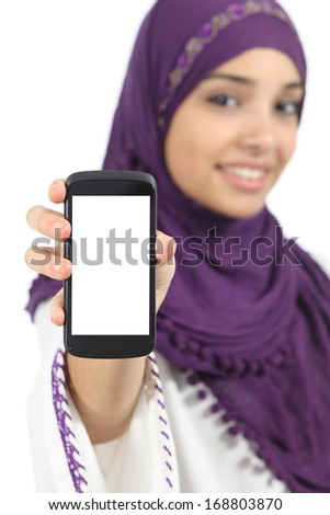 Arab woman displaying an app blank smart phone screen isolated on a white background               - stock photo