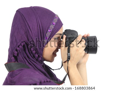 Arab woman photographer holding a dslr camera isolated on a white background        - stock photo