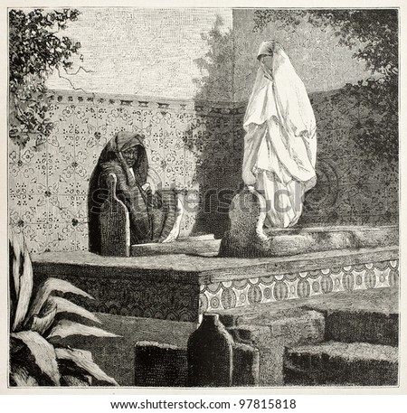 Arab women visiting Islamic tomb. Created by Vidal and Dochy after photo of Famin. published on Magasin Pittoresque, Paris, 1882 - stock photo