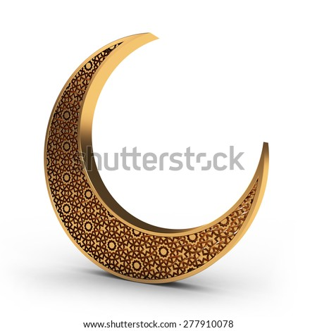 Arabesque Moon in Gold - stock photo