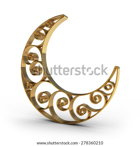 Arabesque Swirl Moon in gold and silver - stock photo