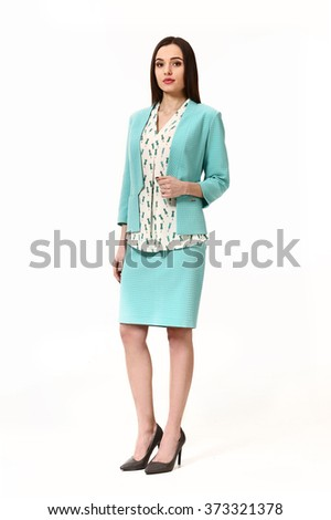 arabian asian eastern brunette business executive woman with straight hair style in blue official summer suit high heels shoes full length body portrait standing isolated on white - stock photo