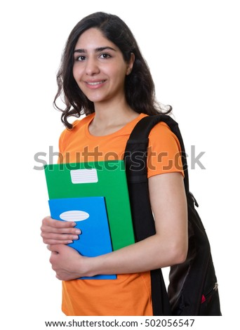 Arabian female student on an isolated white background for cut out