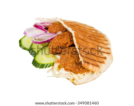 arabian grilled hot fast food - meat with vegetables in pita - stock photo