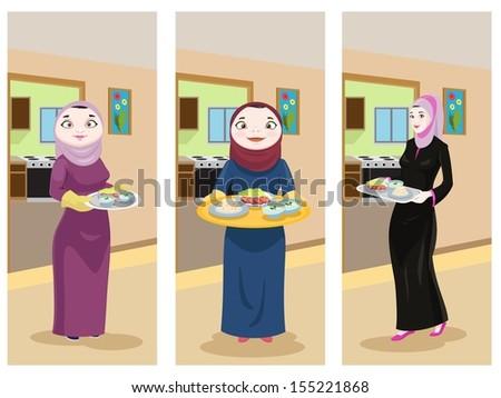 Arabian Ladies Preparing Food - stock photo
