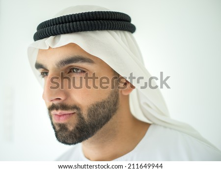 Arabian man profile - stock photo