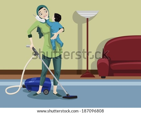 Arabian Mother Cleaning Her House - stock photo