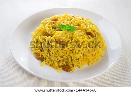 Arabian rice kabsa, Ramadan food in middle east. - stock photo