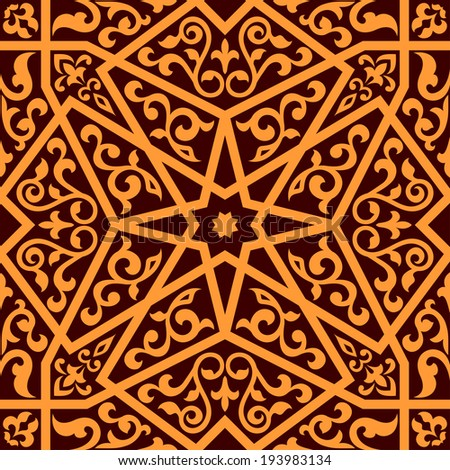Arabian seamless pattern with a central star and floral elements in a square format suitable as a tile in shades of brown. Vector version also available in gallery - stock photo