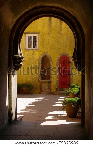 Arabic arch details of Pena Palace in Sintra, Portugal - stock photo