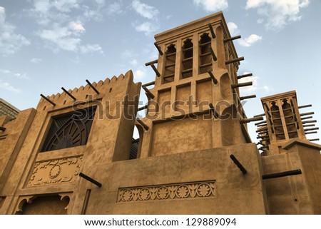 Arabic architecture in Madinat Souk Jumeirah - stock photo