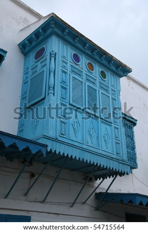 arabic blue wooden balcony in old city street