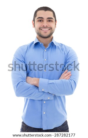 arabic business man in blue shirt isolated on white background