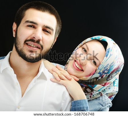 Arabic couple together - stock photo