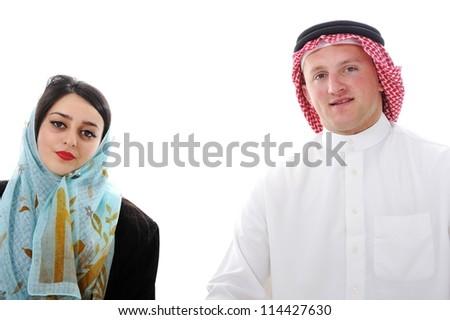 Arabic couple, wife and husband - stock photo