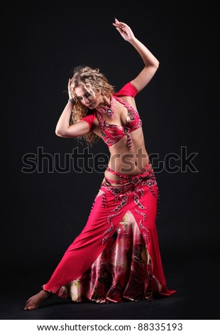 Arabic dance performed by a beautiful  blond woman