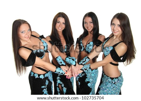 Arabic dance performed by a beautiful brunette - stock photo