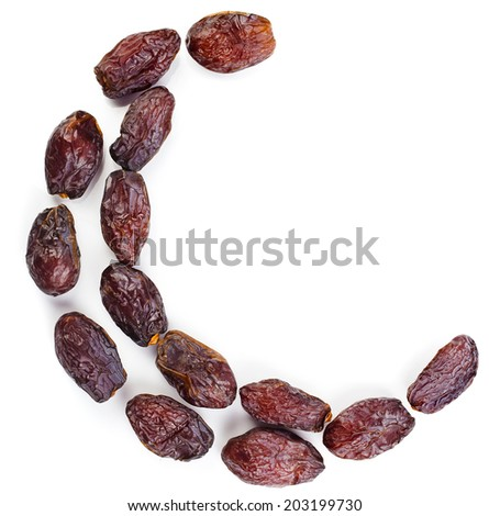 Arabic dates arranged in a shape of moon isolated on white background - stock photo