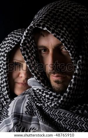 Arabic happy couple in love - stock photo