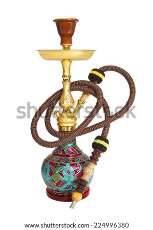 Arabic hookah isolated on a white background - stock photo