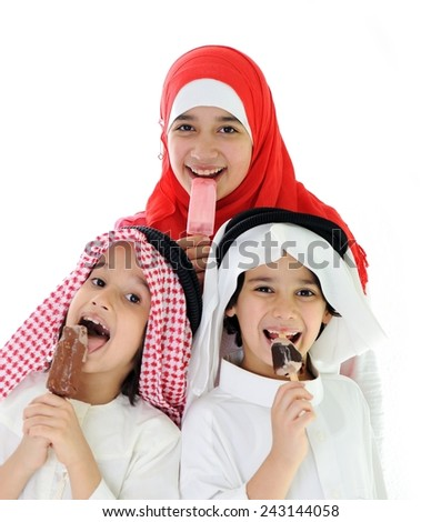 Arabic kids eating ice-cream
