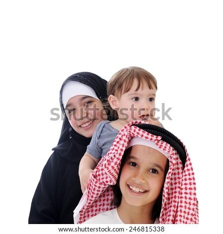 Arabic kids eating ice-cream - stock photo