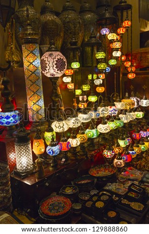 Arabic Lamps in a shop of Madinat Souk - stock photo