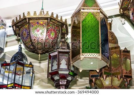 Arabic lamps. Moroccan oriental traditional souvenirs  - stock photo
