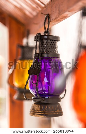 Arabic lanterns on display at Dubai Souq - stock photo