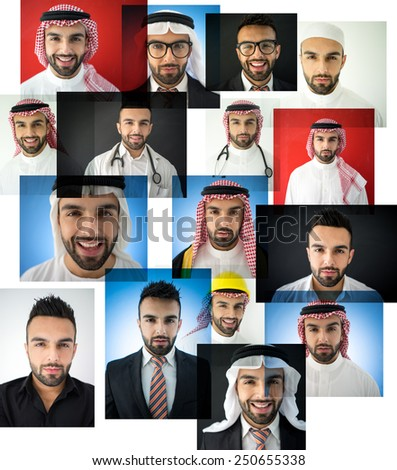 Arabic man collage - stock photo