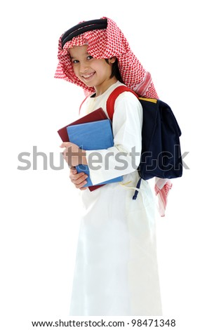 Arabic Middle Eastern school child with books and backpack - stock photo