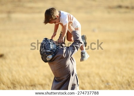 Arabic mother and baby - stock photo