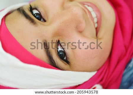 Arabic Muslim girl posing - stock photo