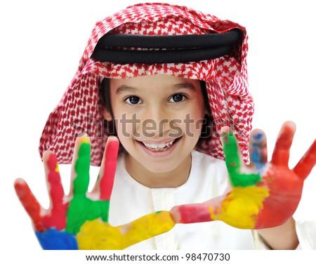 Arabic Muslim playful colorful child - stock photo