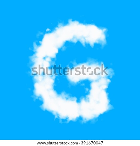 Arabic numbers and English alphabet from cloud on blue sky background
