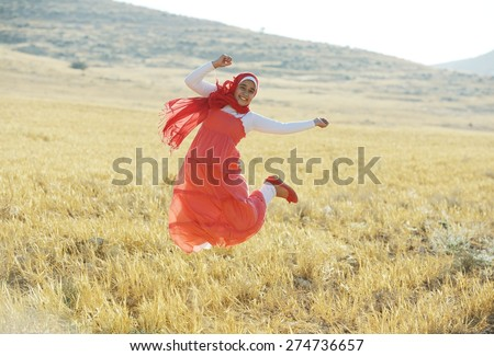 Arabic people enjoying on beautiful field