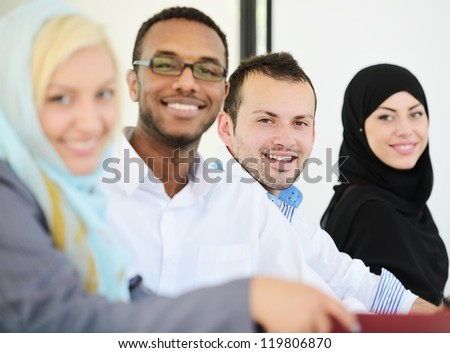 Arabic people having a business meeting, row with selective focus