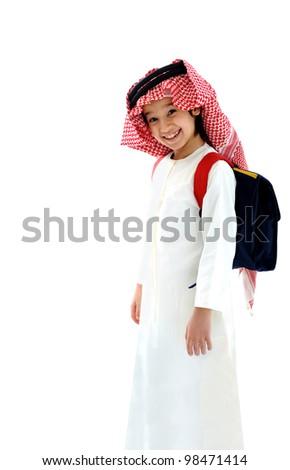 Arabic school boy - stock photo