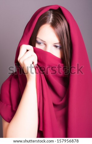 arabic style portrait of a young beautiful woman - stock photo