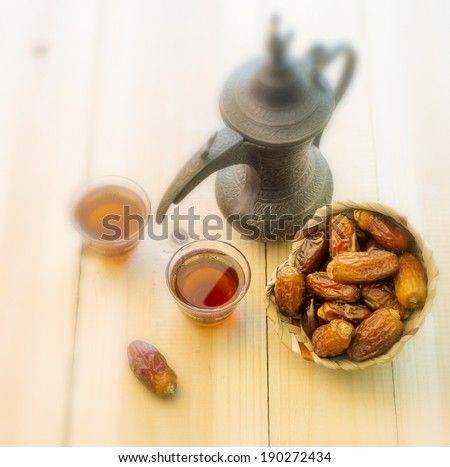 Arabic Tea and dates - vintage effect - stock photo