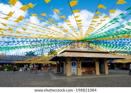 ARACAJU, BRAZIL - JUNE 6, 2014: Saint John flags at the municipal market, in Aracaju - Sergipe - stock photo