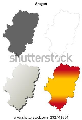 Aragon blank detailed outline map set - jpeg version  - stock photo