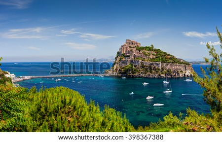 Aragon castle. Hieron I of Syracuse built the fortress in 474 B.C. In 1441 Alfonso of Aragon, rebuilt the old Castle, linking to the main island by the stone bridge. Ischia island, Italy. - stock photo