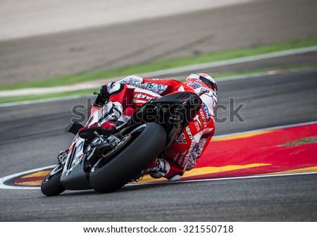 ARAGON, SPAIN - SEPTEMBER 27: Andrea Dovizioso at GP Movistar de Aragon of MotoGP at Motorland Aragon Circuit on September 27, 2015 in  Aragon, Spain. - stock photo